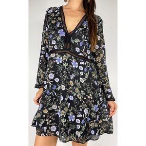BOOHOO Black Floral Print Long Sleeve Dress Sz 16